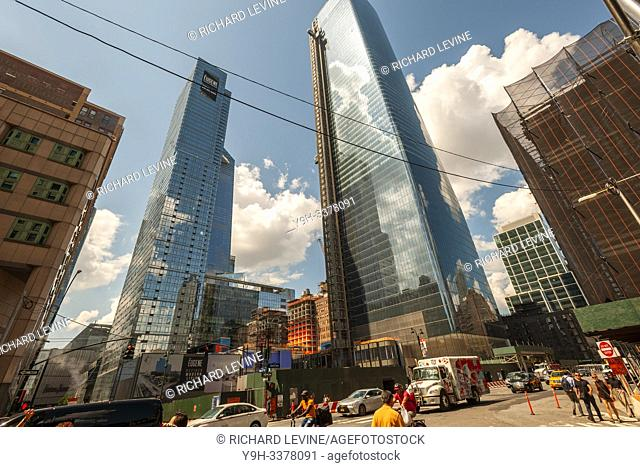 Construction in and around the Hudson Yards development, including Brookfield Manhattan West, right, in New York on Wednesday, July 24, 2019