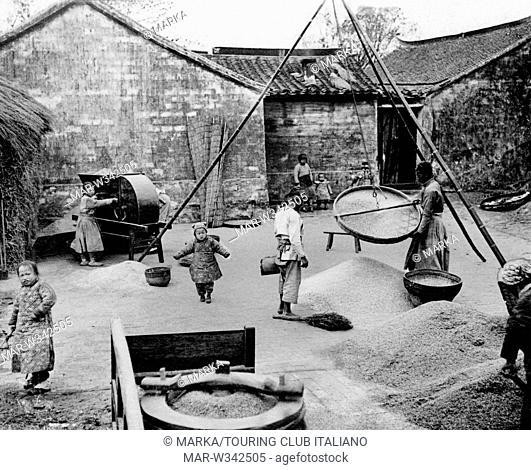 vagliatura del frumento in un villaggio cinese, 1930-40 // wheat screening, china, asia, 1930-40