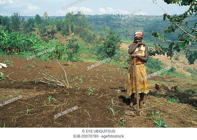 Burundian returnee from Rwanda cultivating land using fertilizer supplied by the EEC