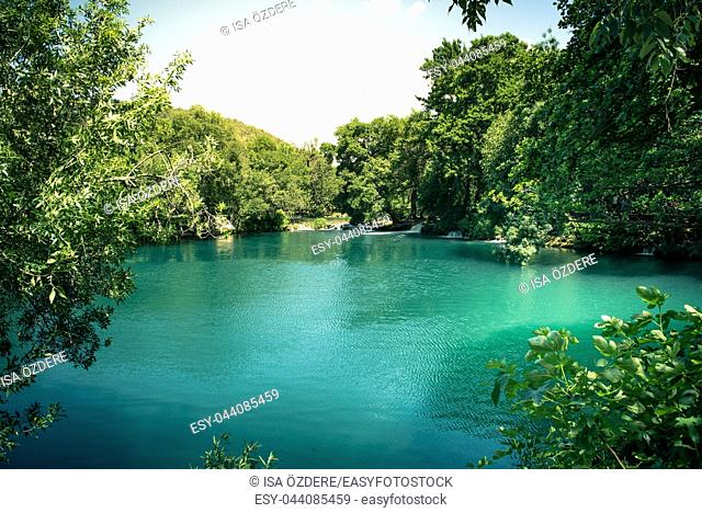 Lake on the background of green foliage in Krka National Park , one of the Croatian national parks in Sibenik, Croatia