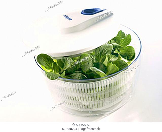 Salad spinner with corn salad
