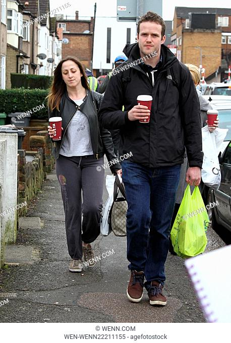 A make up free Natalie Cassidy and her boyfriend Marc Humphreys arrive at BBC Elstree after grabbing some coffee. Featuring: Natalie Cassidy