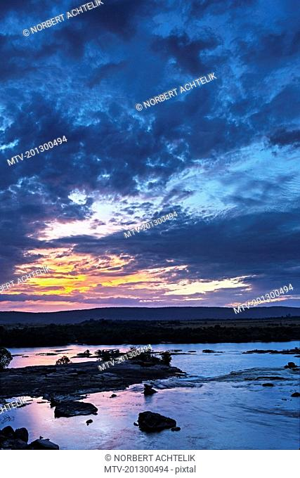 Scenic view of dramatic sky against Carrao river, Canaima National Park, Venezuela
