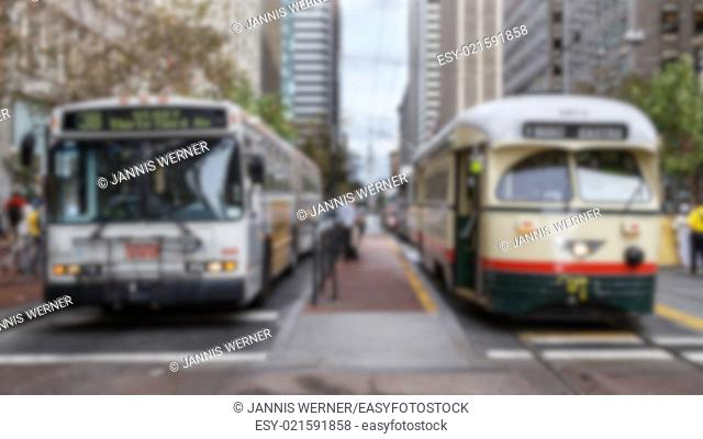 Blurred background of San Francisco public transportation vehicles