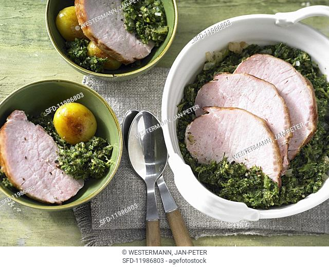 Kale with gammon and pan-fried potatoes