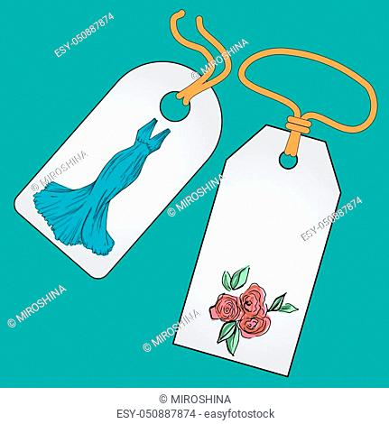Label, badge, price tag with the image of fashionable things. Fashionset for prom. Illustration in hand drawing style