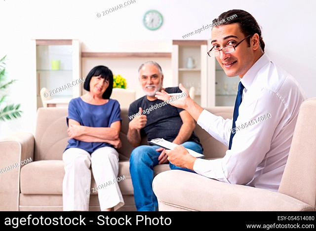 The old couple visiting psychiatrist doctor