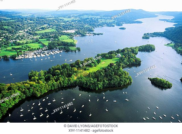 Lake Windermere in the Lake District National Park, Cumbria, England  Aerial south over Belle Isle