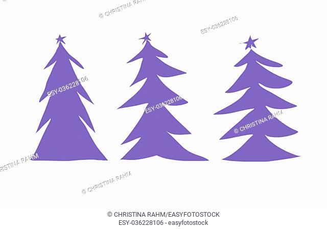 Winter background, New Year digital illustration with three purple Christmas trees illustration isolated on white