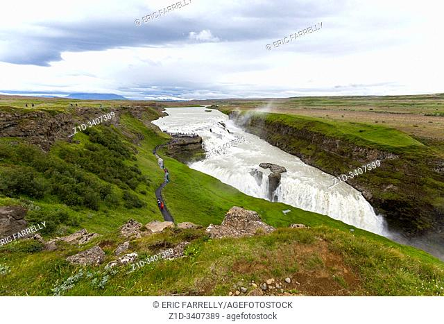 view of Gullfoss Waterfall. Iceland