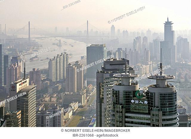 View of the skyline as seen from the Grand Hyatt Hotel, Pudong, Shanghai, China, Asia