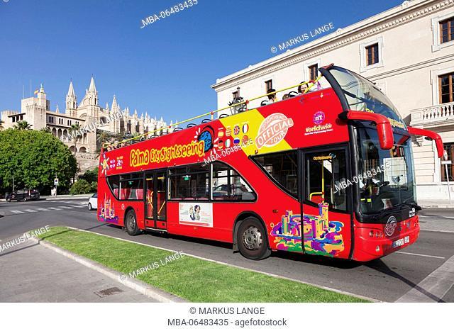 Sightseeing bus at the cathedral La Seu, Palma de Majorca, Majorca, the Balearic Islands, Spain