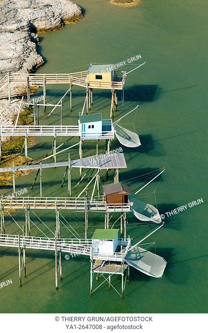 France, Charente maritime (17), riverbank of La Gironde, Saint Palais sur mer, square fishing huts called carrelets (aerial view)