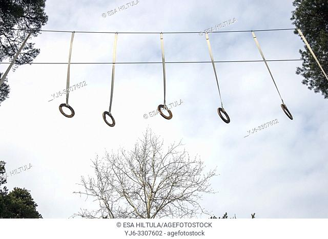 climbing rings hanging outdoors