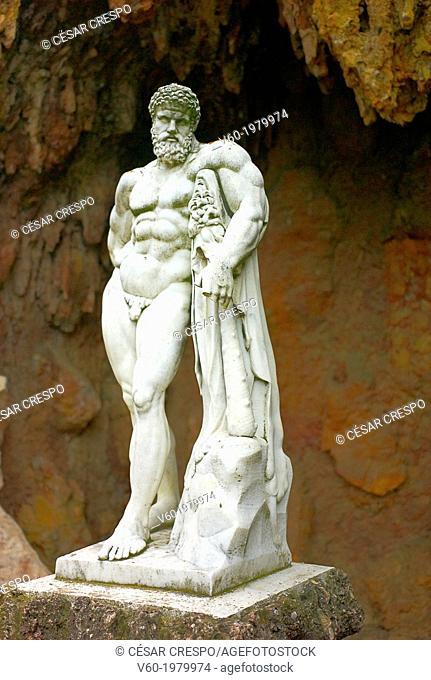 -Classic Statue Carved marble man- Parc Samà in Reus Tarragona, Spain
