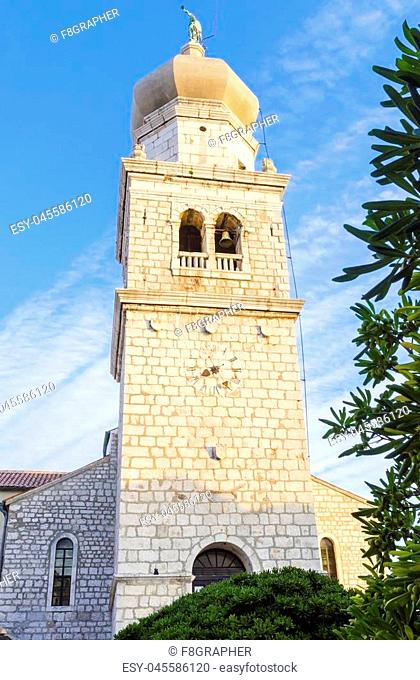 Bell tower of the cathedral, the Church of the Assumption of Blessed Virgin Mary, in Krk, Croatia, a monument of Romanesque era St
