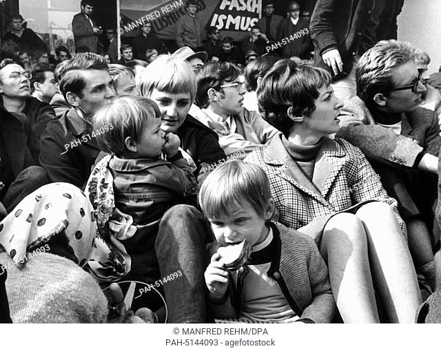 Students at a sit-down strike at the entrance to the university building in Frankfurt am Main on May 24, 1968; some of the students had brought their offspring...