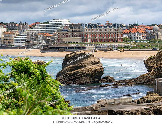 21 June 2019, France (France), Biarritz: The Hotel du Palais (M) on the beach of Biarritz. The upcoming G7 summit will take place here from 24-26.08