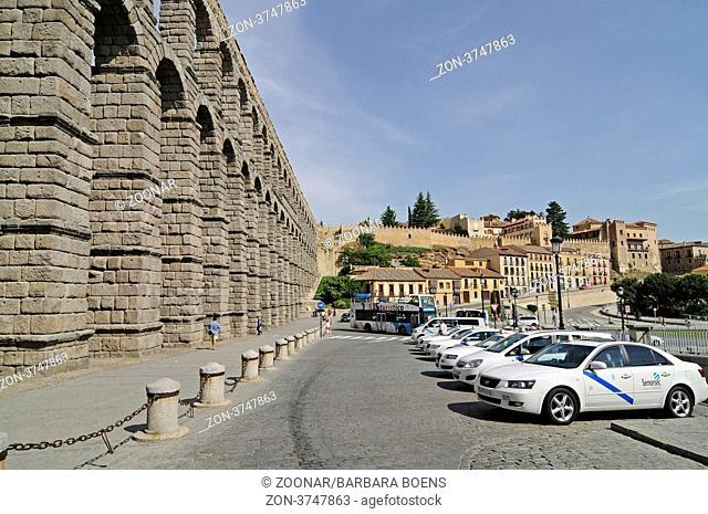 roman aqueduct, UNESCO World Heritage Site, Segovia, Castile and Leon, Spain, Europe, Roemisches Aquaedukt, Unesco Weltkulturerbe, Segovia, Castilla y Leon