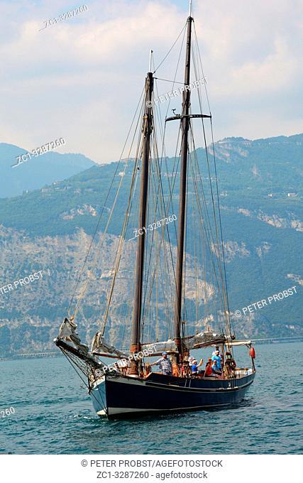 Sailboat on the Lake Garda near by Malcesine - Italy