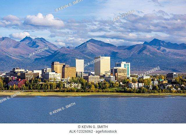 Aerial view of downtown Anchorage, Cook Inlet, and the Chugach Mountains in autumn, Southcentral Alaska, USA
