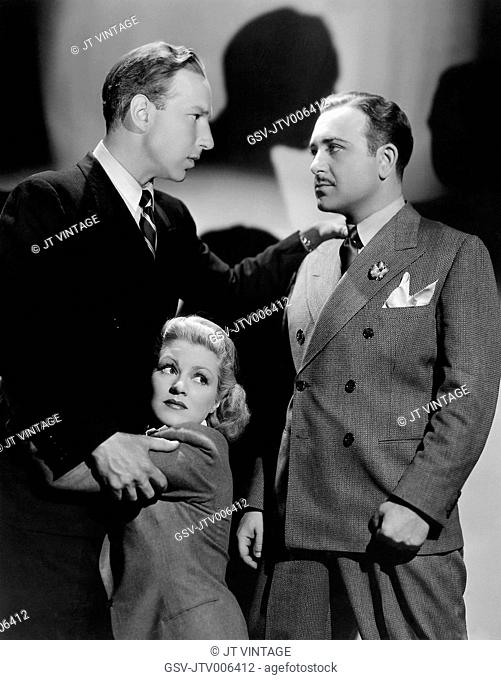 Lloyd Nolan, Claire Trevor, Harvey Stephens, on-set of the Film King of Gamblers, 1937