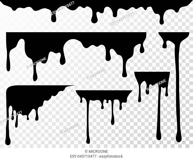 Black dripping oil stain, liquid drips or paint current vector ink silhouettes isolated. Illustration of ink splash, splatter drop