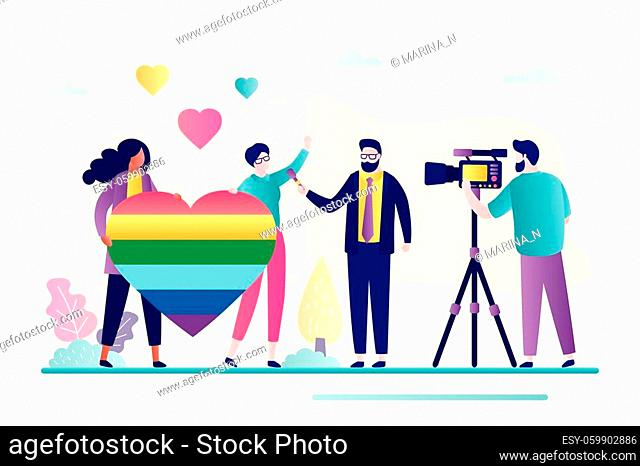 Beautiful lesbian couple with LGBT symbol and male reporter. Journalist interviews two women. Reportage about lgbt movement, sexual orientation, homosexuality