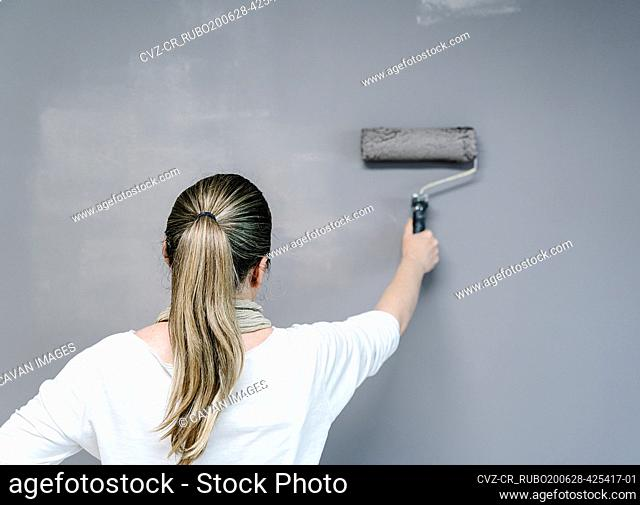 Backwards woman catching a painting roller full of grey painting on a wall. The painter is upping and downing the roller covering the wall with grey painting...