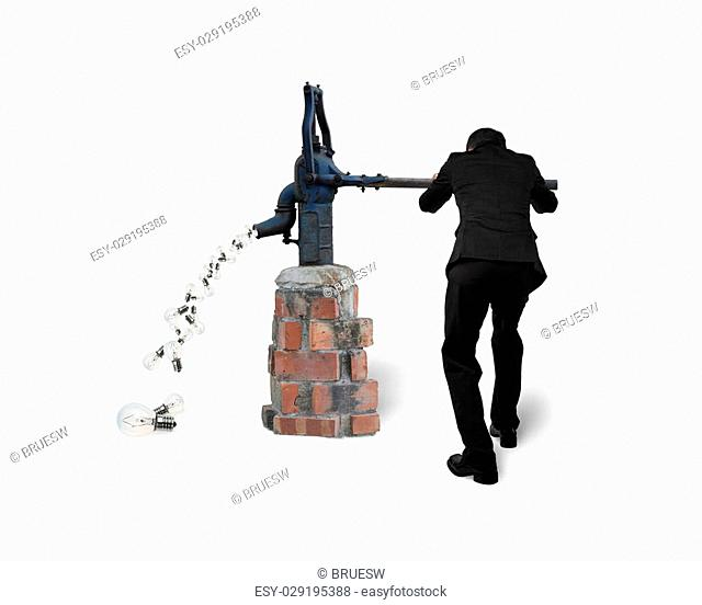 Businessman drawing out light bulbs from retro water pump, isolated on white background