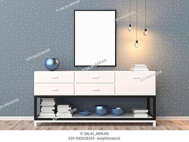 Mock up frame in hipster interior background. 3D illustrating