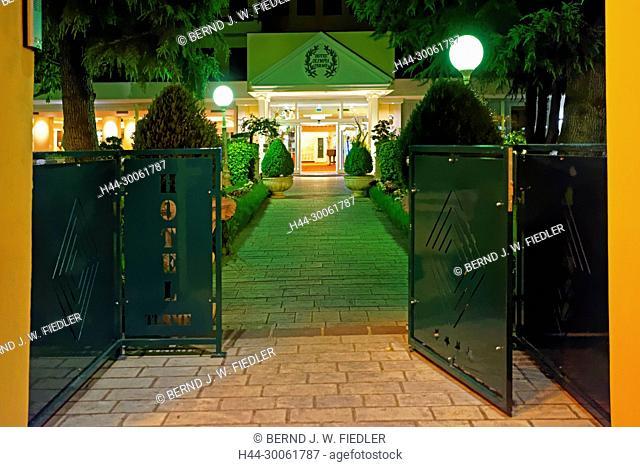 Europe, Italy, Veneto Veneto, Montegrotto Terme, Viale Stazione, hotel, Olympia Terme, entrance, in the evening, architecture, trees, hotel, building, lanterns
