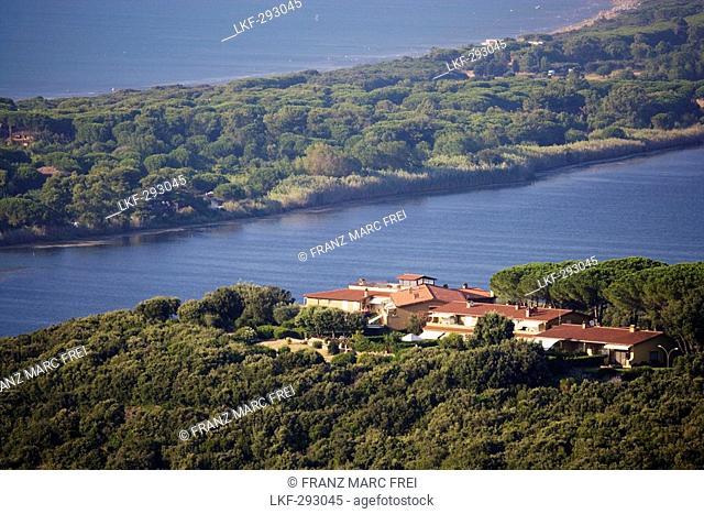View onto the natural dam of Gianella, Monte Argentario, Maremma, Tuscany, Italy