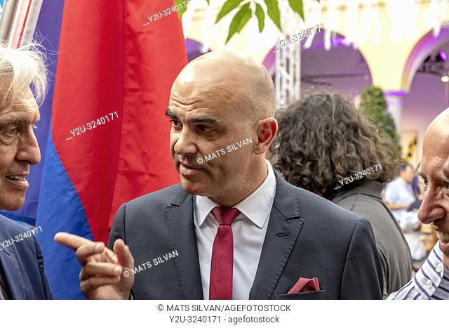 Swiss President Alain Berset and Marco Solari and Patrick Gisel in Film Festival Locarno on 1 August 2018 on Switzerland's National Day in Switzerland