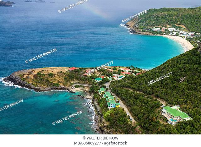 French West Indies, St-Barthelemy, Anse des Flammands, Anse des Flamands bay, elevated view