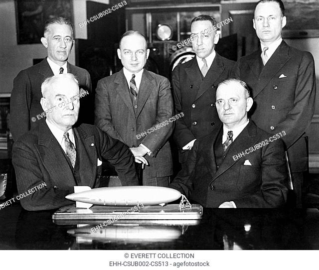 House Naval Affairs Committee, investigating rumored defects in the dirigible, USS Akron. Jan. 20, 1932. Adm. William Moffett (seated, left)