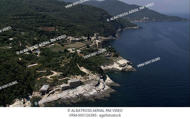 Aerial HD video of Moni Stavronikita monastery