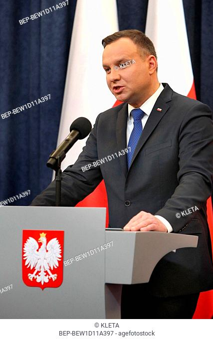 February 6, 2018 Warsaw, Poland. Press Conference. Pictured: President of Poland Andrzej Duda