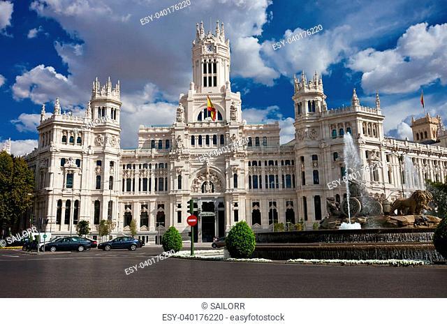 Central Post Office - Palacio de Comunicaciones at Cybele's Square, Madrid, Spain