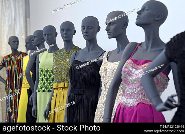 A view of costumes by Annamode at 'Romaison 2020' exhibition featuring archives and creations from Rome's foremost costume design studios , Ara Pacis Museum