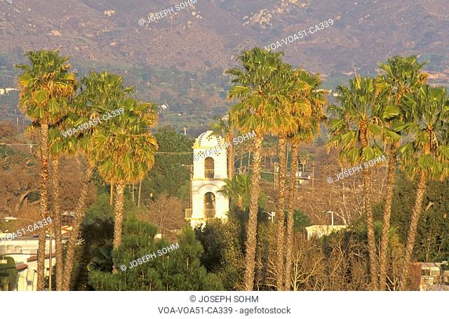 Historic Post Office and palm trees in Ojai, California