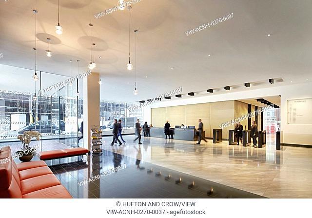 Ground floor foyer with reception and waiting lounge. 70 Mark Lane - City of London, London, United Kingdom. Architect: Bennetts Associates Architects, 2015