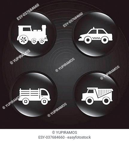 transport bubbles over black background vector illustration