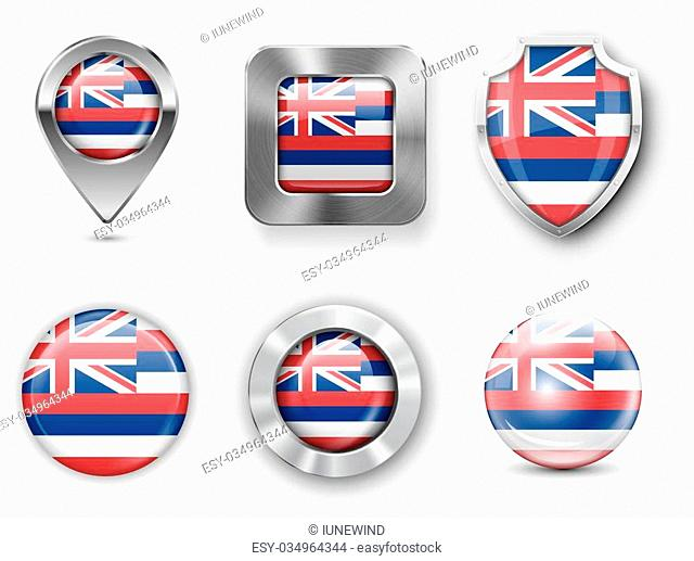 Hawaii USA State Metal and Glass Flag Badges, Buttons, Map marker pin and Shields. Vector illustrations