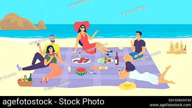 People enjoying a summer picnic at the seaside on a rug spread out on the sandy beach with ocean backdrop, colored vector illustration
