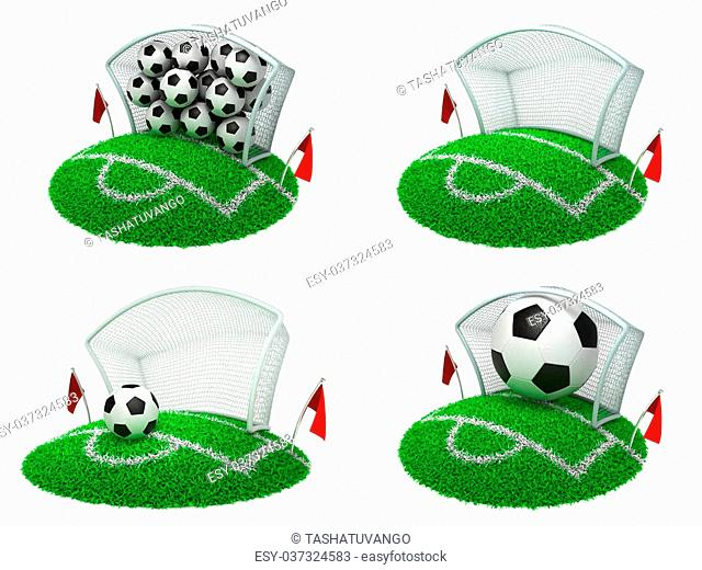 Soccer Concepts - Set of 3D Football Gate and Balls