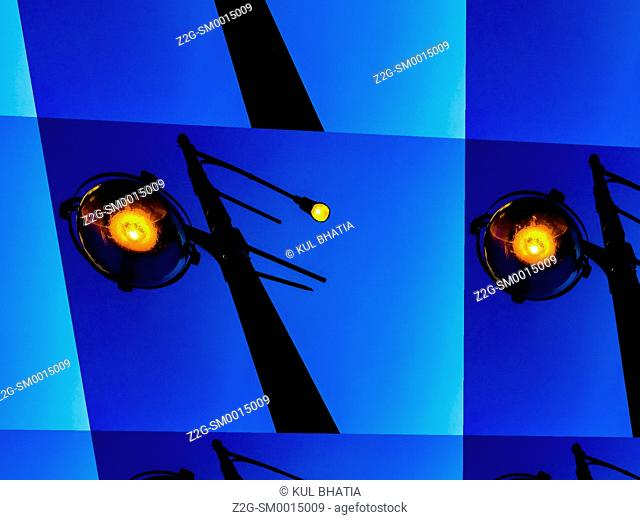 Abstract of street lights in a city, London, Ontario, canada