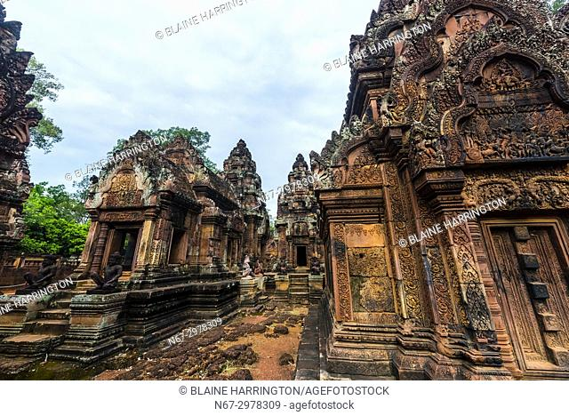 "Banteay Srei or Banteay Srey (""""Citadel of the Women"""") is a 10th-century Cambodian temple dedicated to the Hindu god Shiva"