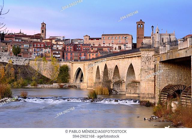Bridge over Douro river and facades of Tordesillas town, Valladolid, Spain