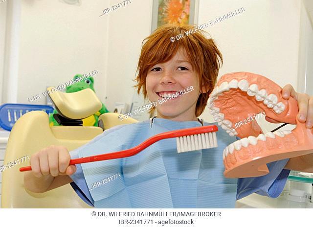 Boy at the dentist's, receiving instructions for dental care on a model, dental hygiene, dental care, dental visit